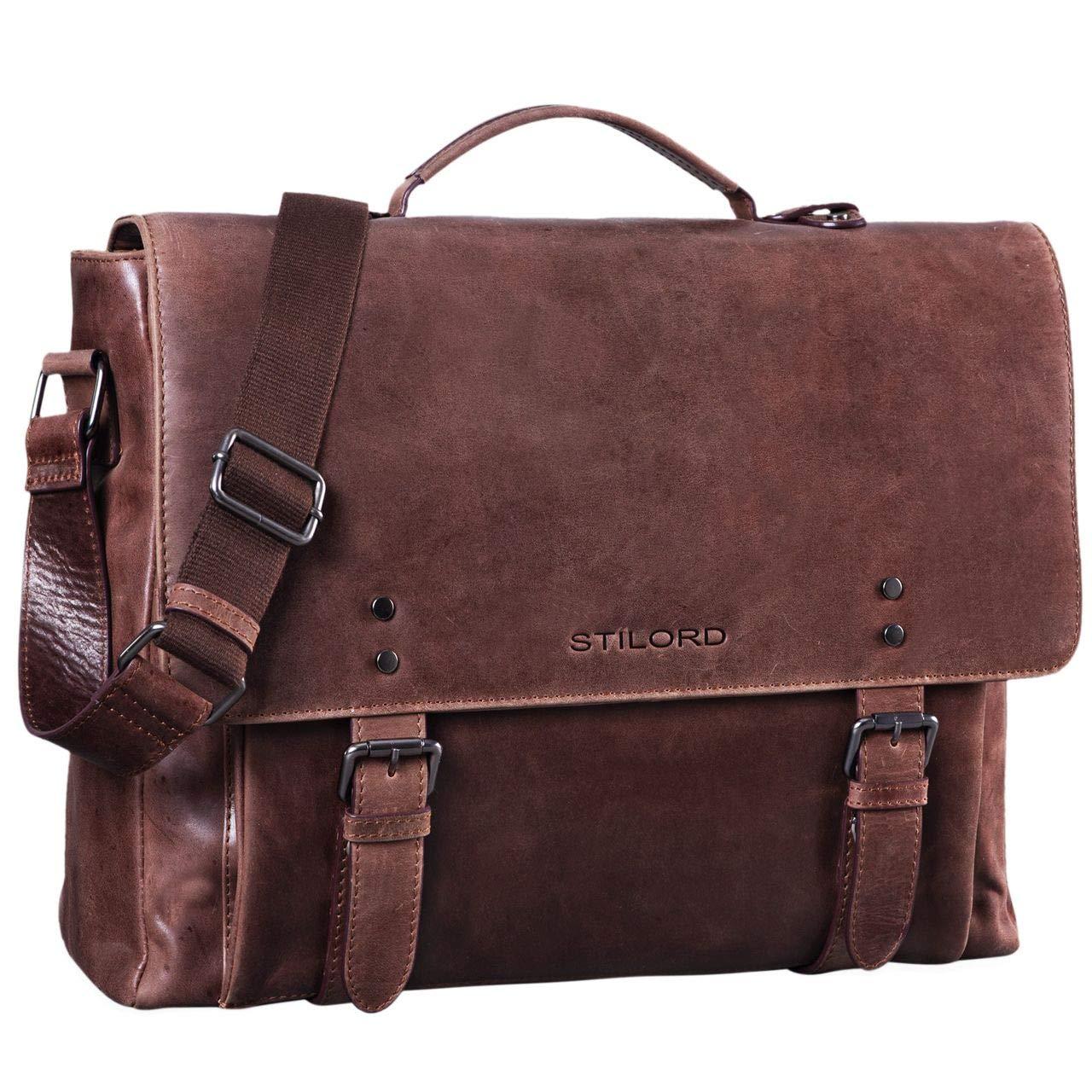 STILORD 'Alfred' Vintage Leder Aktentasche aufsteckbar XL groß 17 Zoll Laptoptasche Lehrertasche Dokumententasche Business Büro, Farbe:Messina - braun