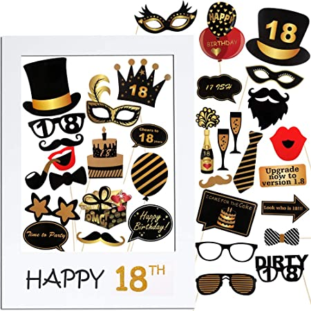 VINFUTUR 18th Cumpleaños Photo Booth Props, 35pcs Photobooth Cumpleaños Accesorios Fotocall para Cabina de Foto Props Fiesta Kit+Marco Photocall ...