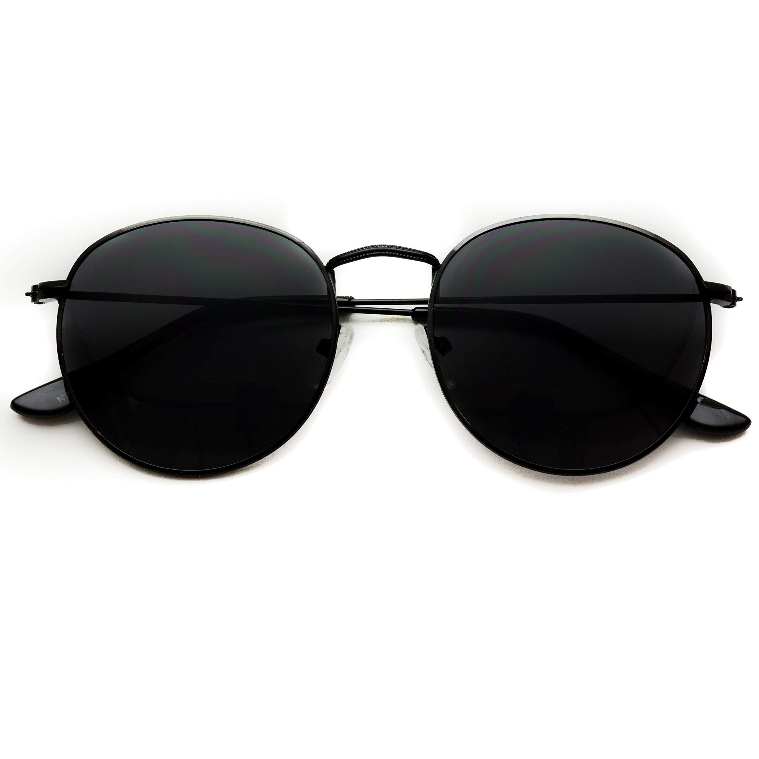WearMe Pro - Reflective Lens Round Trendy Sunglasses (Black Frame/Black Lens, 51)
