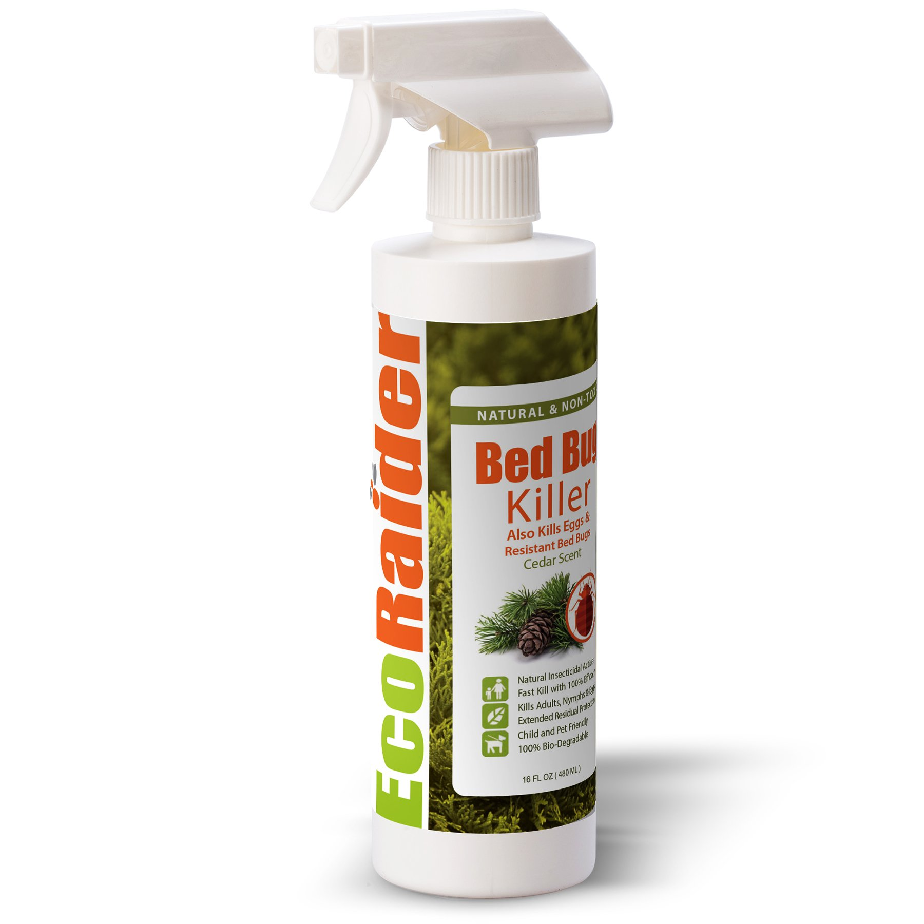 EcoRaider Natural Bed Bug/Dust Mite Killer Spray(480ml), Fast Eradication + Eliminates Eggs and Resistant Bugs, Extended Residual Protection , Non-Toxic + Safe for Children & Pets