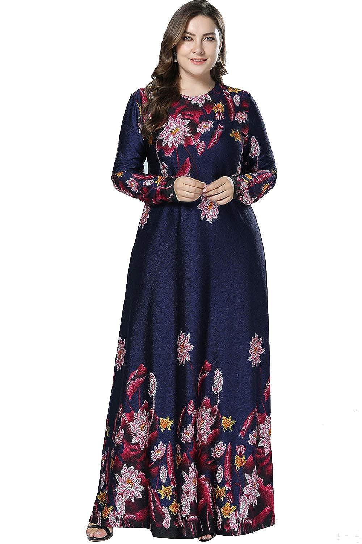 91a412e9fa UAime Women Long Sleeve Casual Maxi Dress Muslim Dress for Women Islamic  Arabian Woman Clothing Kaftan Abaya Long Dress at Amazon Women s Clothing  store