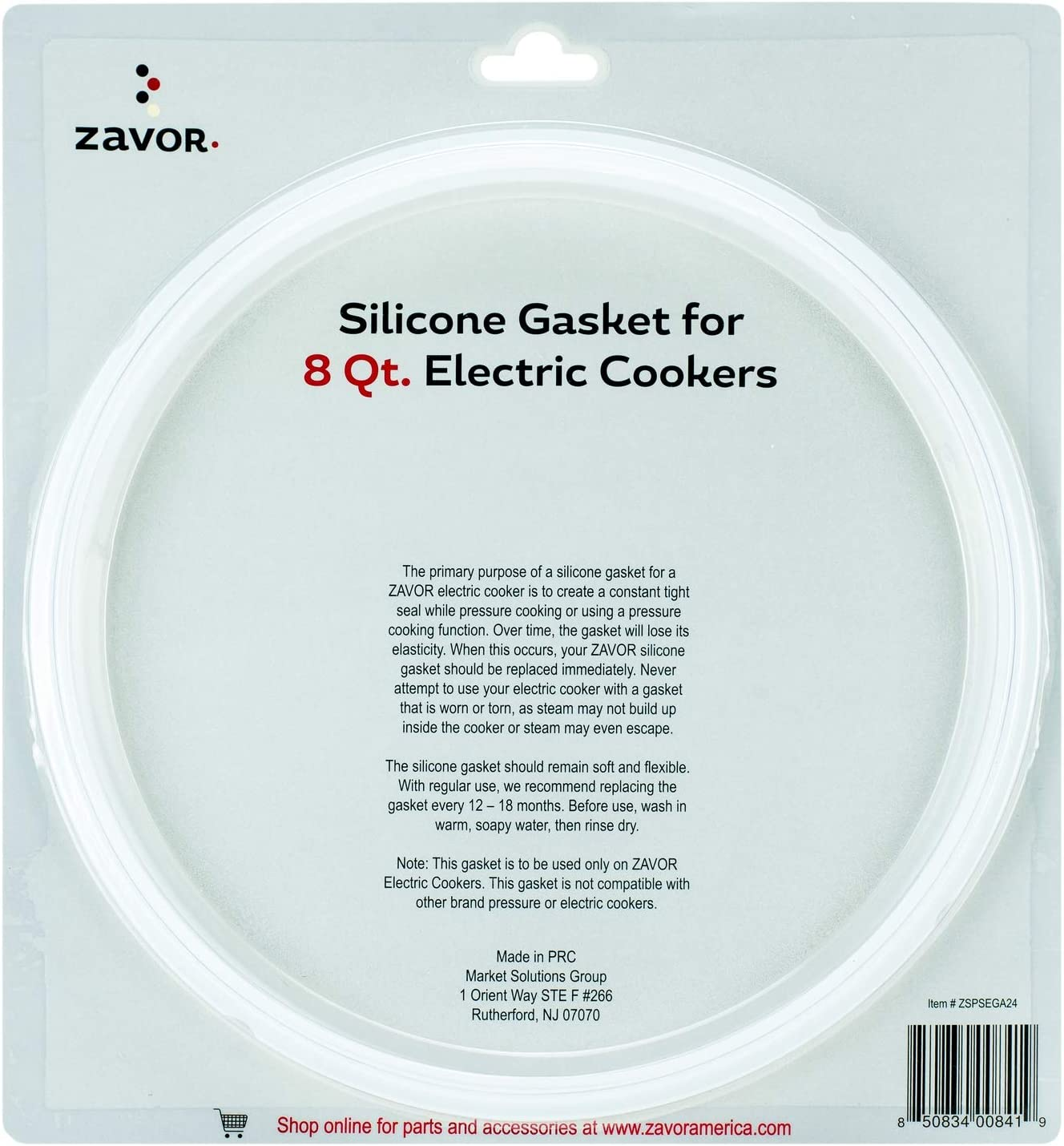 Zavor Silicone Gasket for Zavor 8 Quart Electric Cookers (ZSPSEGA24)