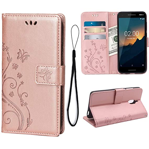 best service ac833 06f29 Amazon.com: Teebo Wallet Case for Nokia 2.1, 3 Card Holder Embossed ...
