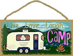 """Blackwater Trading Mountains Live Love Laugh Camp Camping Sign Camper Plaque 5""""x10"""""""