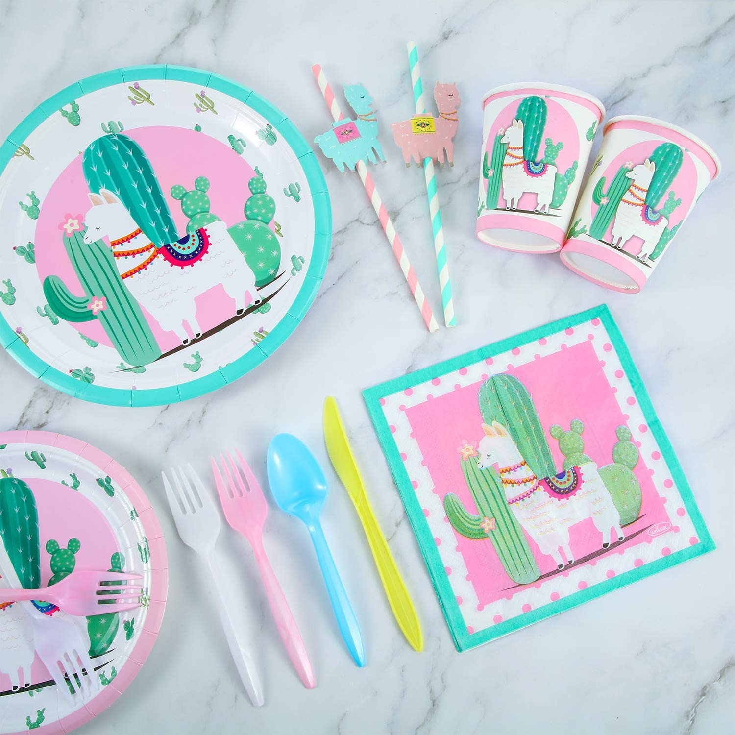 for Llama Fiesta Birthday Baby Shower Party Favors Cactus Forks 116 Pieces Llama Party Supplies Disposable Llama Tableware Set-Serves 16 Guests-Plates Knives Straws and Napkins Spoons Cups