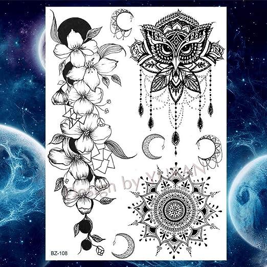 SDEFGH Etiqueta engomada del tatuaje 3 Piezas Acuarela Elefante ...