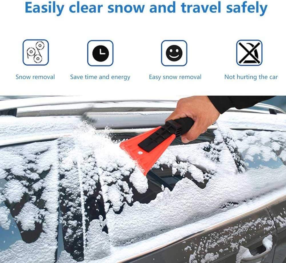 Nollary Upgrade Car Ice Scraper Extendable Detachable Snow Removal Brush with Foam Grip for Car Auto SUV Truck Windscreen 25-32