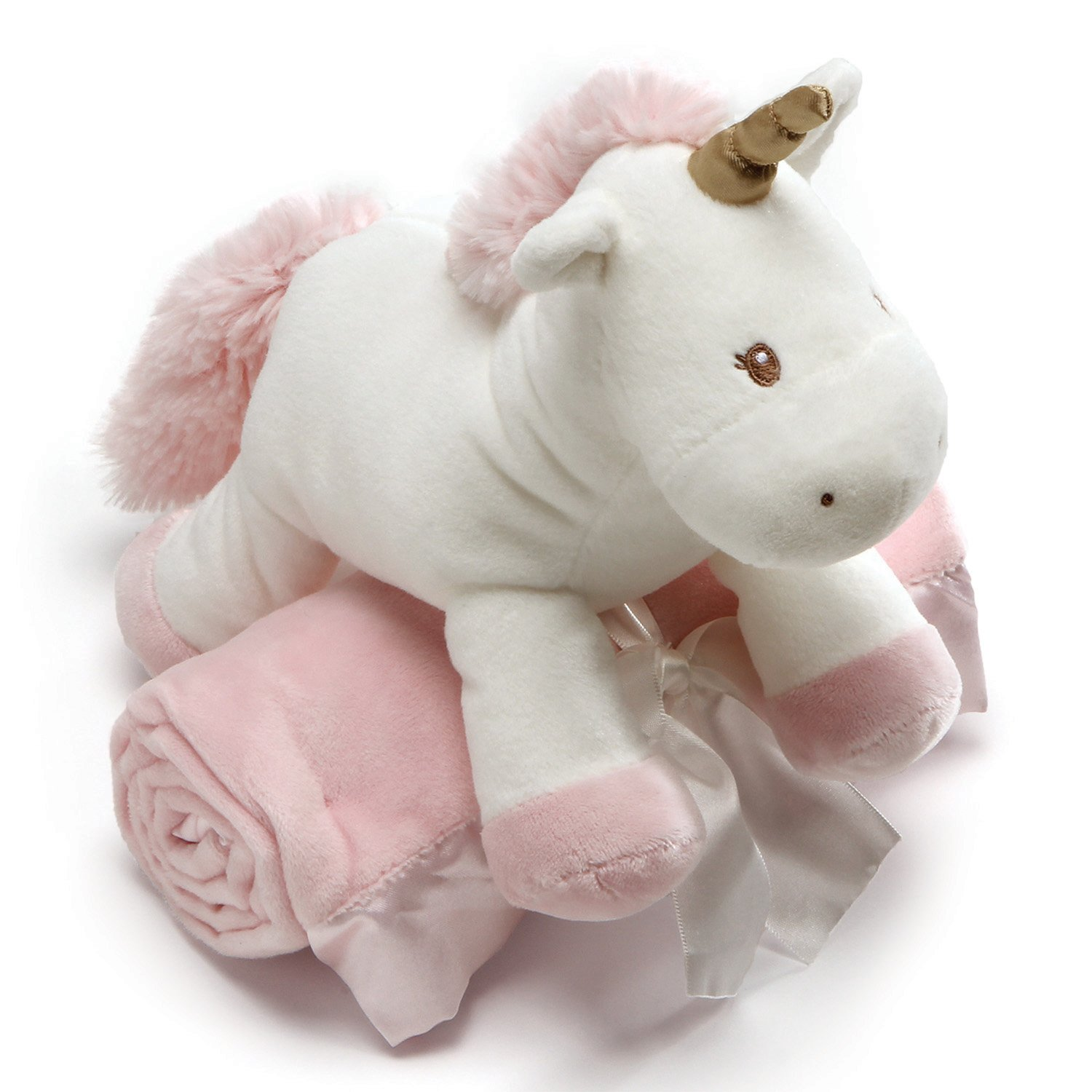 Baby GUND Luna Unicorn with Pink Blanket Stuffed Animal Plush, Set of 2, 7""