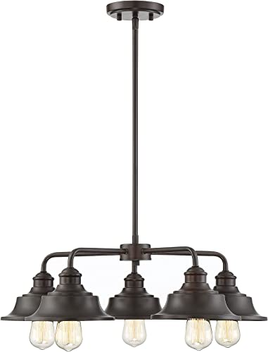 Trade Winds Lighting TW10052ORB 5 Light Vintage Industrial Hanging Ceiling Pendant Chandelier