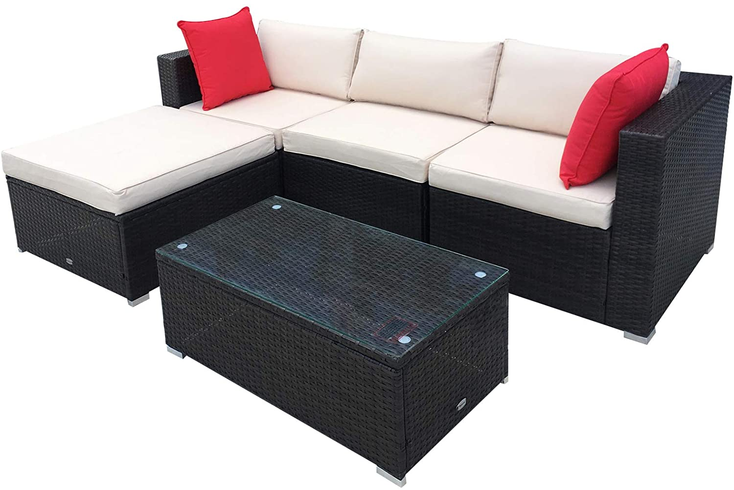 Outsunny 5-Piece Deluxe Outdoor Patio Rattan Furniture Set with Durability Comfortable Seating and a Modern Look, Brown