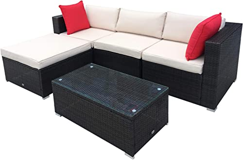 Outsunny 5-Piece Deluxe Outdoor Patio Rattan Furniture Set