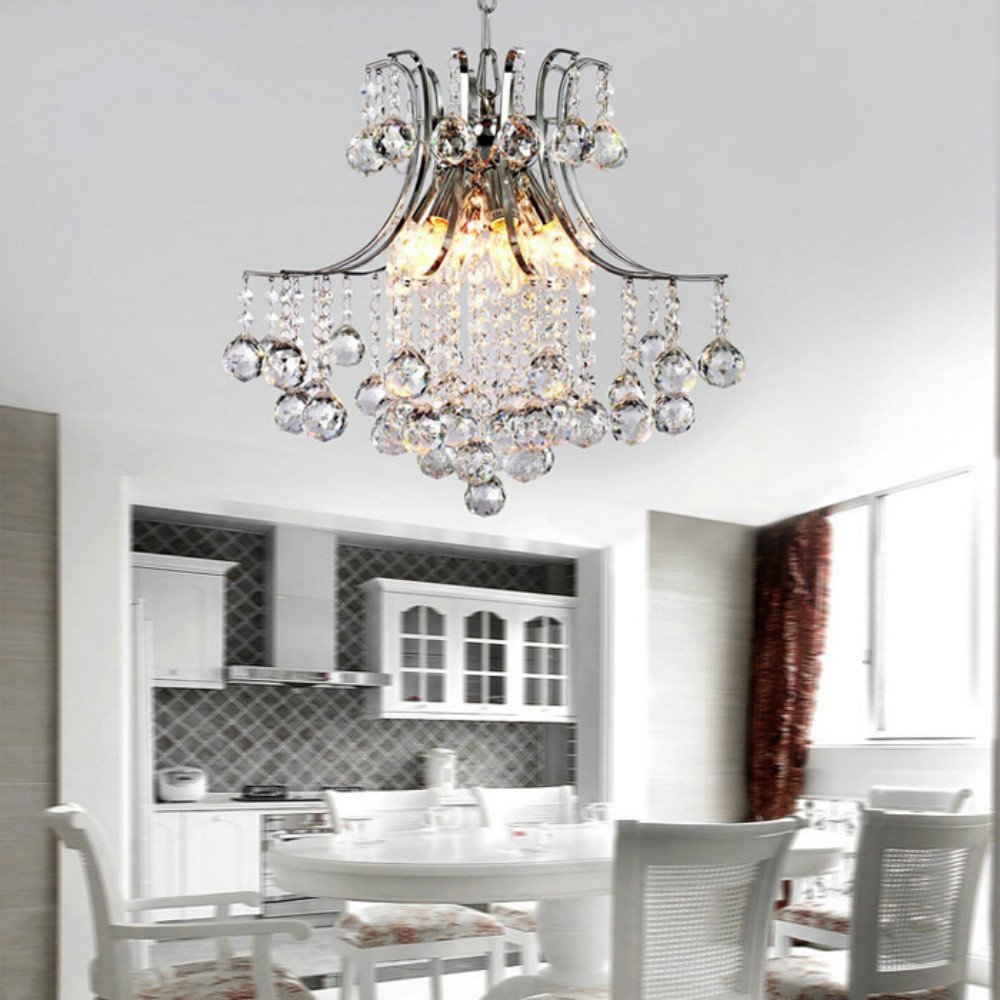 Lighting groups clear k9 crystal chandelier dining room light fixtures polished chrome finish modern drops chandeliers for bedroom living room ceiling