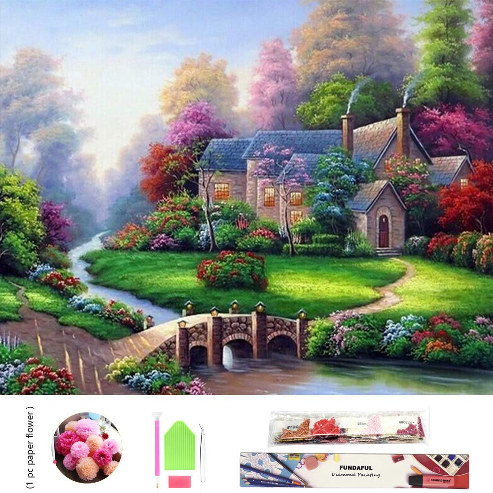 Full Drills 5D DIY Diamond Painting Kit, Spring Landscape Embroidery Cross Stitch Rhinestone Mosaic Painting Decor (Cottage)
