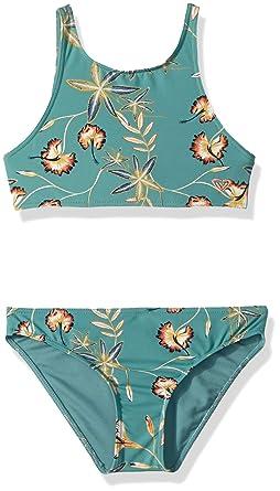 c6d9de2336 Amazon.com: Roxy Big Girls' Born in Waves Crop Top Swimsuit Set, Trellis  Bird Flower Youth, 8: Clothing
