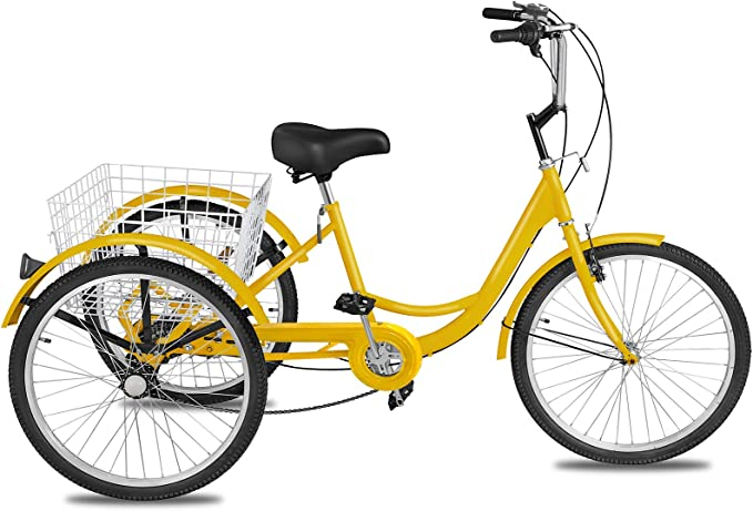 Medium Duty Industrial Tricycle 3 Speed Yellow Coaster Brake