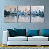 """Amazon Price History for:ARTLAND Modern Framed Abstract Oil Painting """"Blue Villages"""" 3-Piece Gallery-Wrapped Wall Art on Canvas Ready to Hang for Living Room for Wall Decor Home Decoration 16x36inches (Size:12x16inchesx3)"""