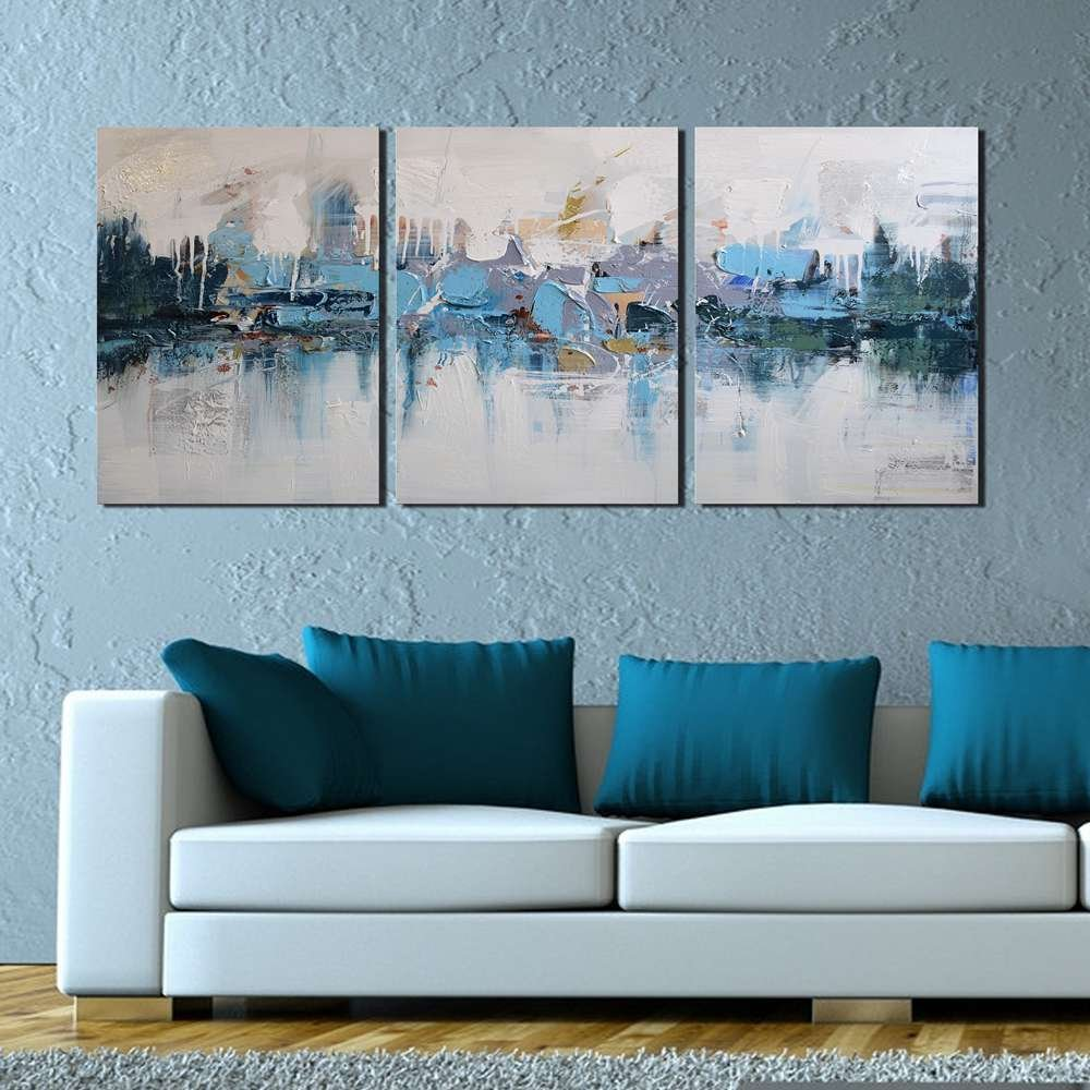 ARTLAND Modern 100% Hand Painted Framed Abstract Oil Painting Blue Villages 3-Piece Gallery-Wrapped Wall Art on Canvas Ready to Hang for Living Room for Wall Decor Home Decoration 24x48inches