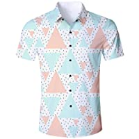 Goodstoworld Mens Casual Shirts Funky 3D Printed Short Sleeve Colourful Hawaiian Shirts S-XL