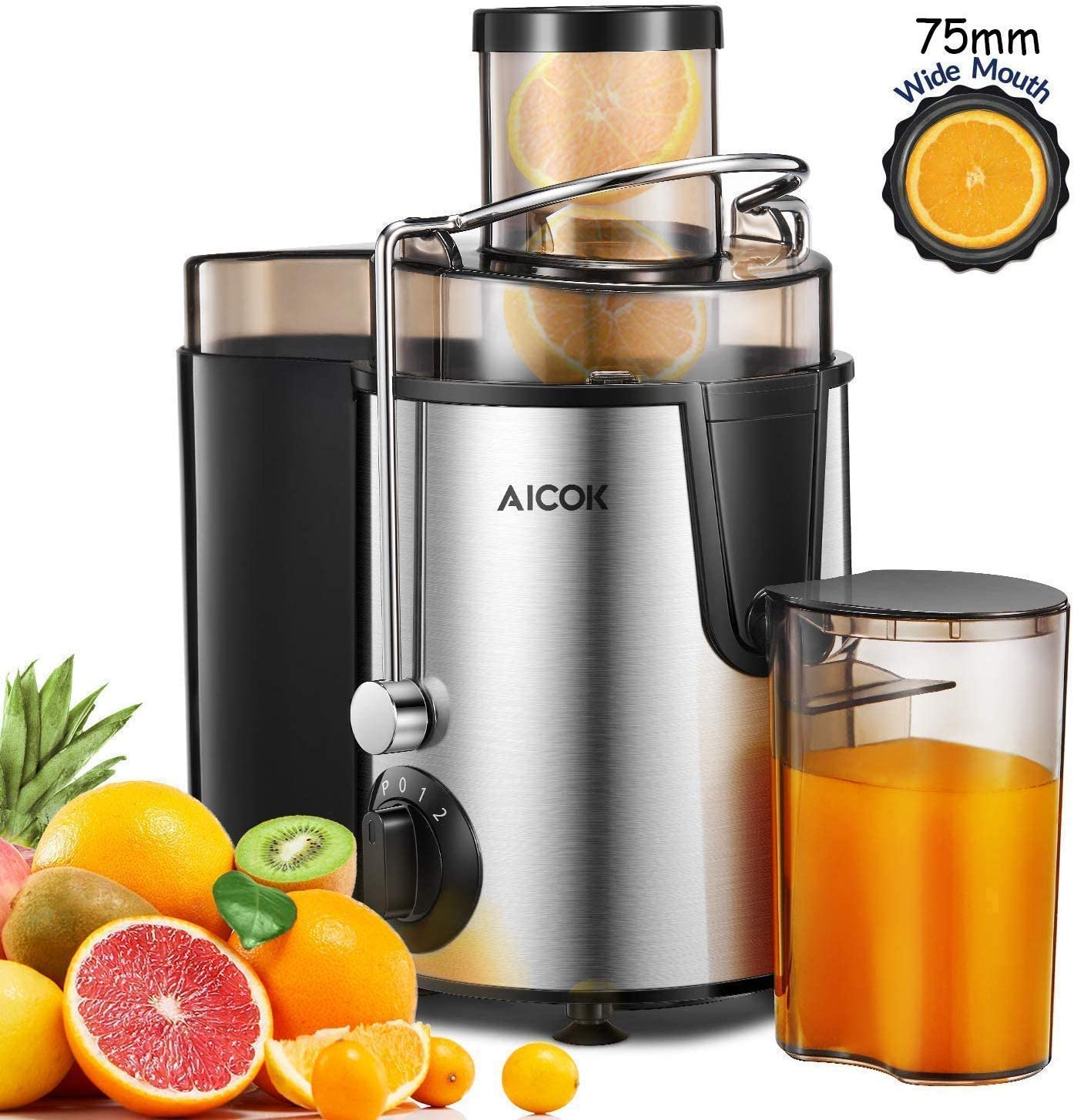 Juicer Aicok Juicers Whole Fruit and Vegetable Easy Clean, 3 Speed Juice Machine with Plus Pulse Function, Non Slip Feet, Stainless Steel and BPA Free