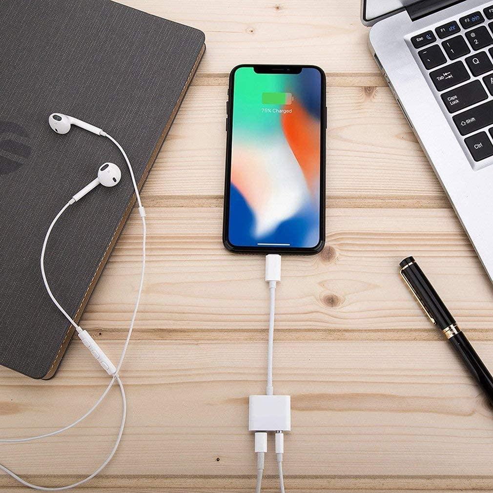 for iPhone Dongle Splitter 3.5 mm Headphone Jack Adapter Charger for iPhone 8//8 Plus// 7//7 Plus//X//10//XS//XS Max//XR Earphone Charge 3.5 mm Aux Audio and Charge Adapter Converter Support All iOS
