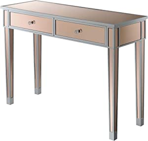 Convenience Concepts Gold Coast Mirrored Desk, Silver / Rosãƒâ