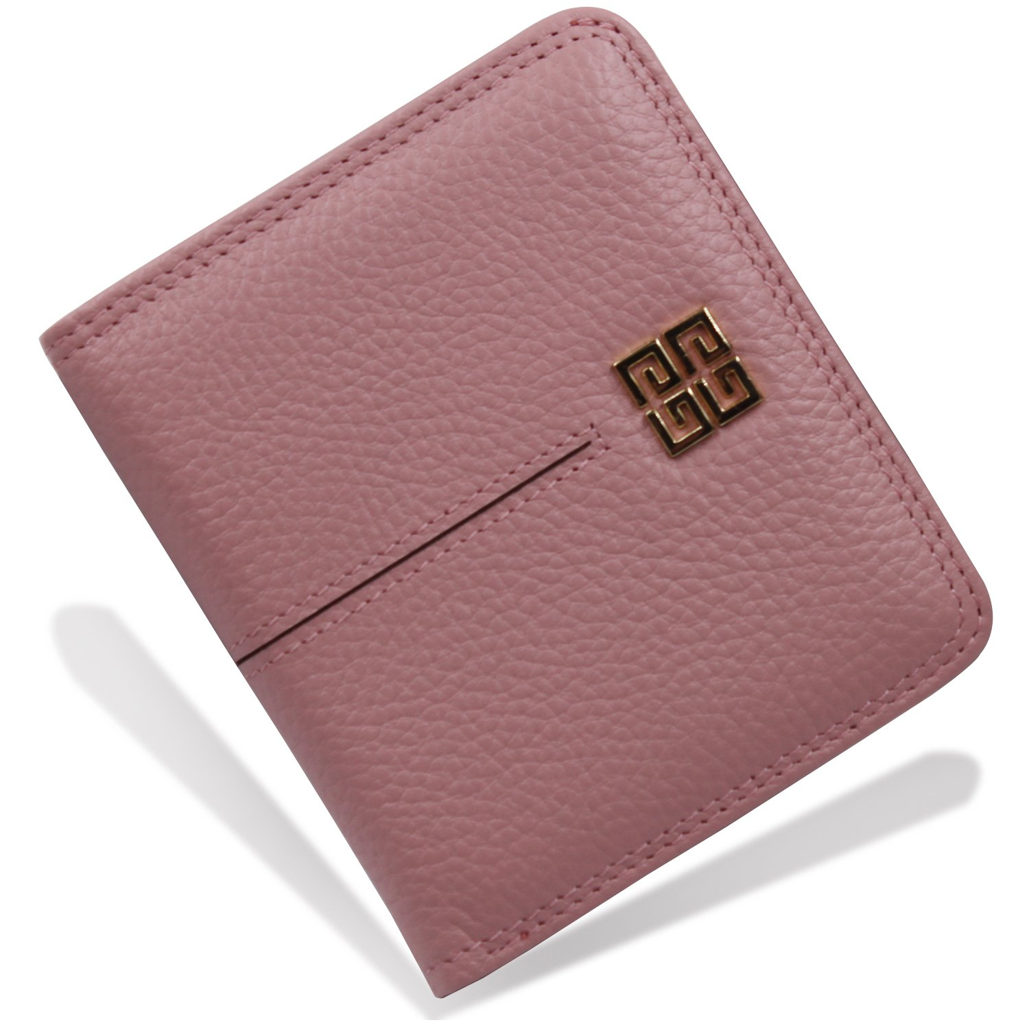 Women's Small Compact Bi-fold Leather Pocket Wallet Credit Card Holder Case with ID Card Window (New Pink)
