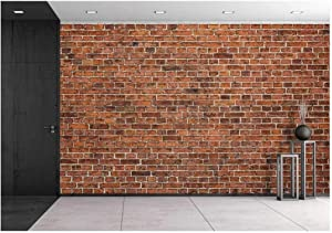 wall26 - Grunge Red Brick Wall Background with Copy Space - Removable Wall Mural   Self-Adhesive Large Wallpaper - 100x144 inches