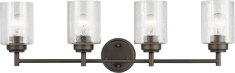 Kichler Lighting 45887oz Winslow – 4つライトBath Vanity, Oldeブロンズ仕上げシードクリアガラス B078RS2TC8 29915