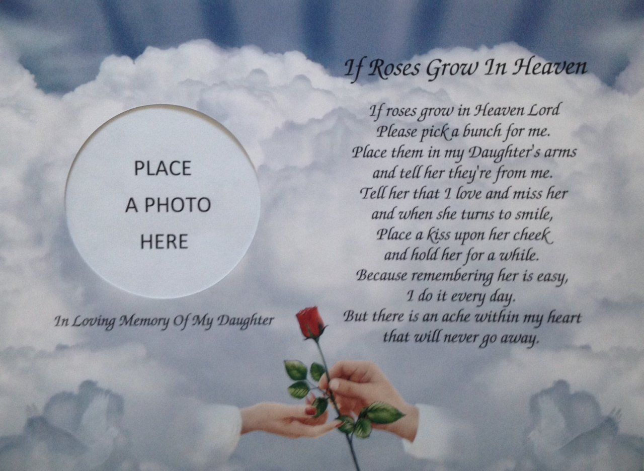 In memory of daughter if roses grow in heaven memorial poem gift for in memory of daughter if roses grow in heaven memorial poem gift for loss of child amazon kitchen home izmirmasajfo