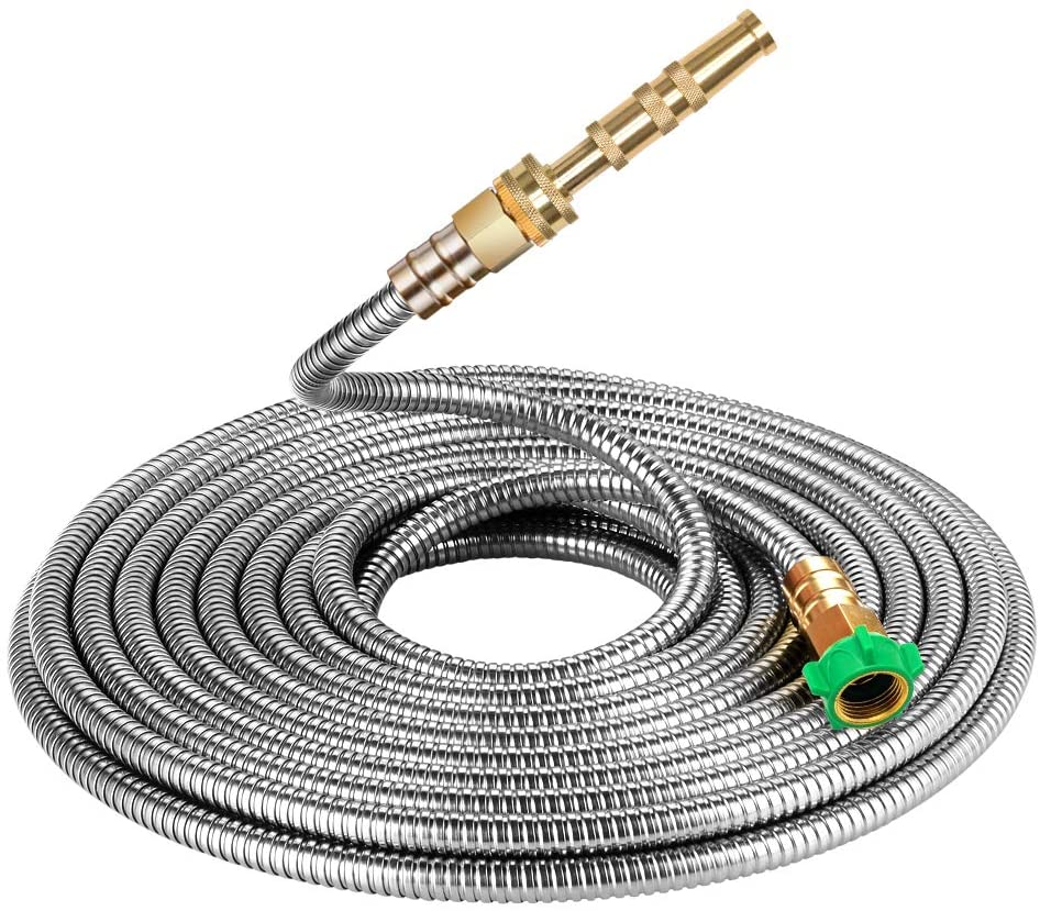 Beaulife 304 Stainless Steel Metal Garden Hose 100 Feet with Brass Garden Hose Nozzle Flexible, Portable & Lightweight Kink Free Garden Water Outdoor Hose