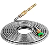 BEAULIFE 304 Stainless Steel Metal Garden Hose 100 Feet with Brass Garden Hose Nozzle Flexible, Portable & Lightweight Kink F