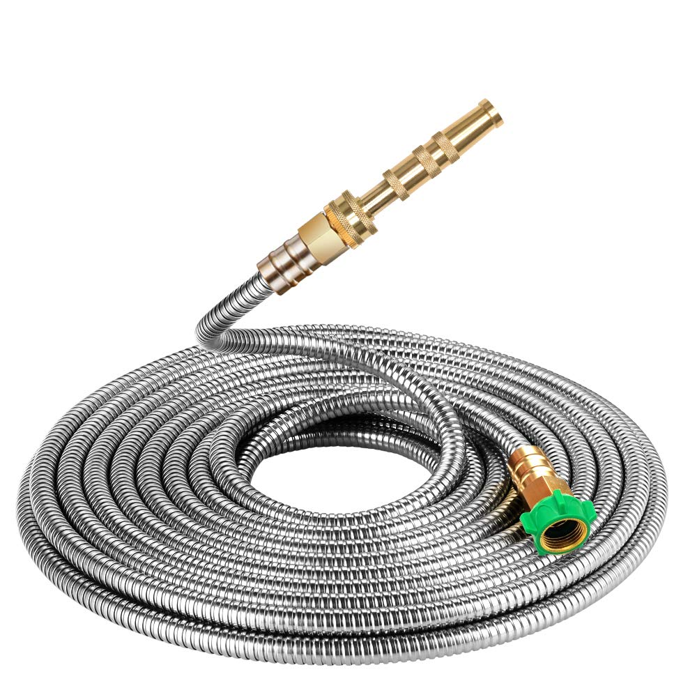 Beaulife 304 Stainless Steel Metal Garden Hose 25 Feet with Brass Garden Hose Nozzle Flexible, Portable & Lightweight Kink Free Garden Water Outdoor Hose
