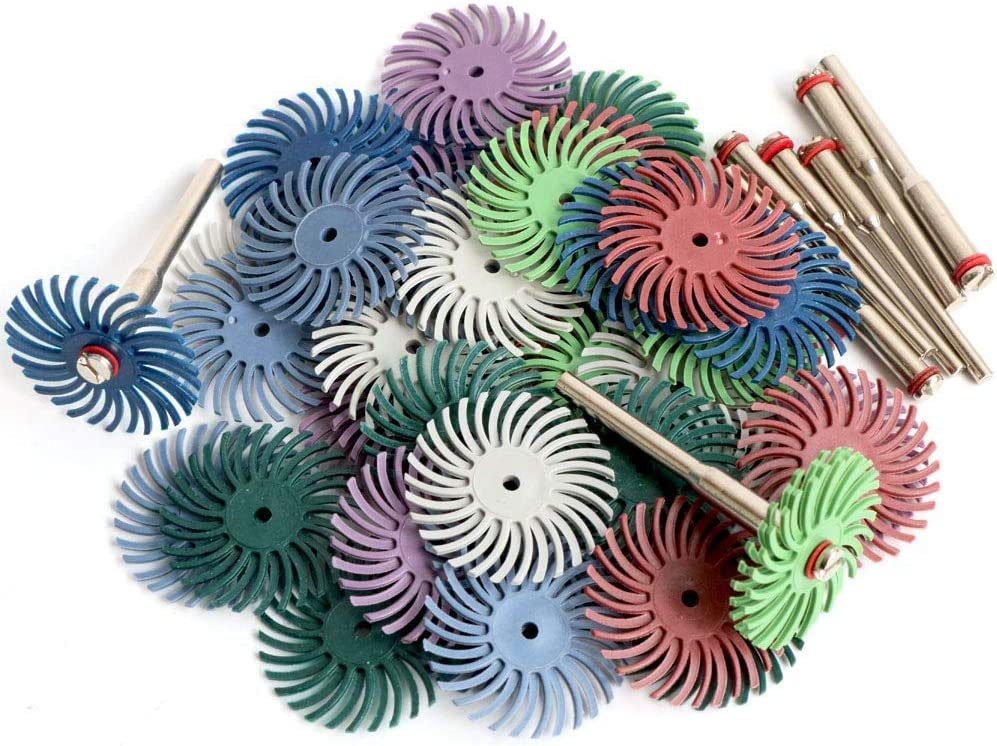 Senmubery 1Inch 25mm Radial Bristle Disc Kit Abrasive Brush 3mm Shank Detail Polishing Wheel for Dremel Rotary Tool Accessories(50Pcs)