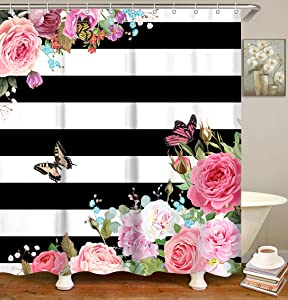 LIVILAN Pink Floral Shower Curtain Rose Flower Fabric Bathroom Curtains Sets with Hooks Black and White Stripes Pattern 72x72 Inches Machine Washable