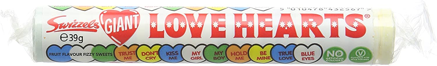 Swizzels Matlow Giant Love Hearts 39 g (Pack of 24)