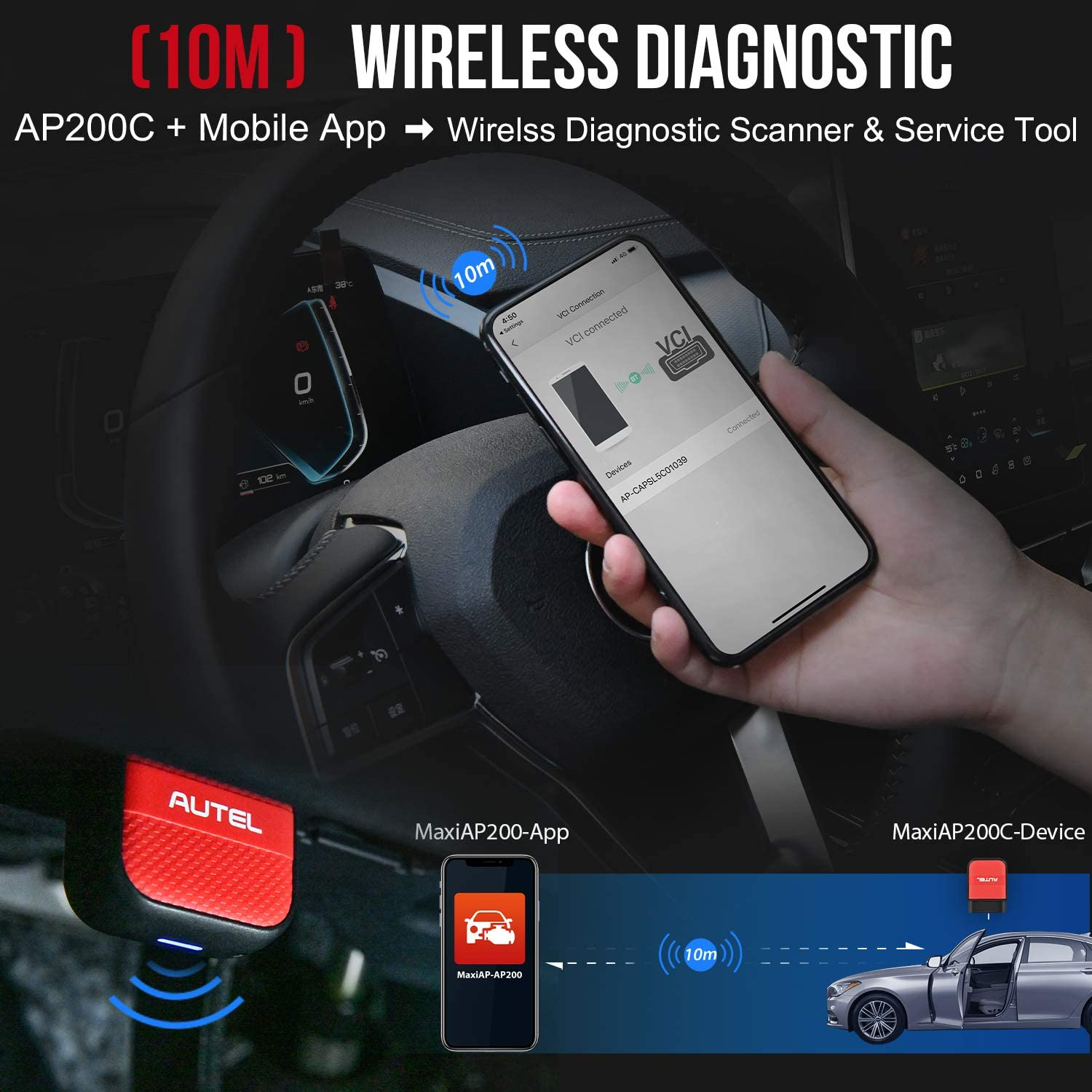 BMS Airbag Reset SAS Throttle Optional OBD2 Scanner for iOS /& Android EPB DPF Autel MaxiAP AP200C Wireless OBDII Scan Tool with ABS SRS Diagnostics ABS Bleed Car Service Tool with Oil Reset