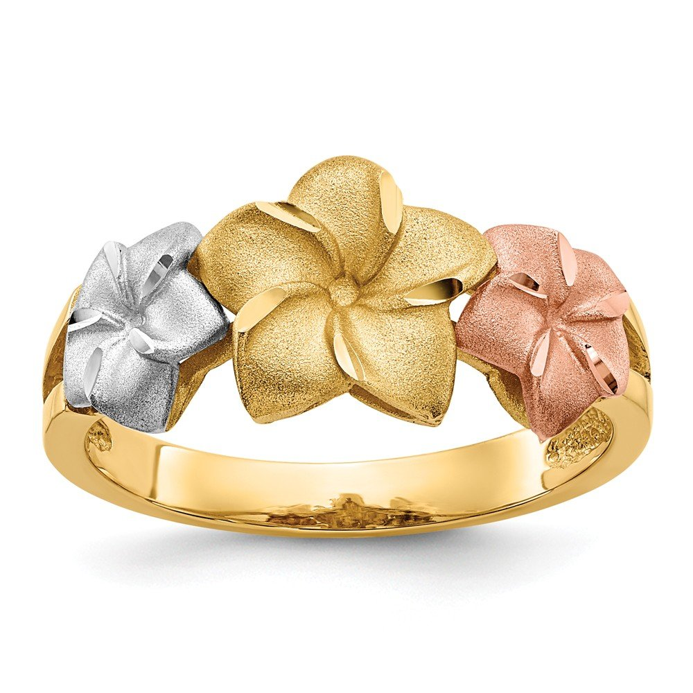 14k Tri Color Yellow White Gold Plumeria Band Ring Size 7.50 Flowers/leaf Fine Jewelry Gifts For Women For Her