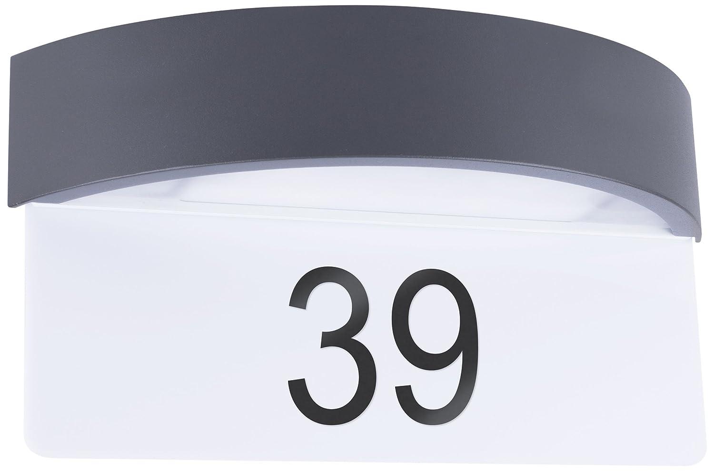 Smartwares 10.045.31 Integrierte LED-Wandleuchte mit Hausnummernschild, Aluminium, Inté gré , 7 W, schwarz, 33 x 10 x 18 cm 10.045.31 (5000704)