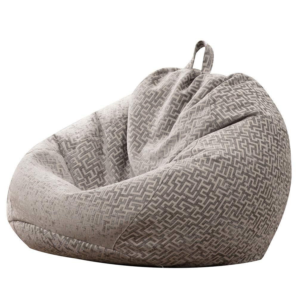 Nobildonna Stuffed Storage Bird's Nest Bean Bag Chair (Cover Only) for Kids and Adults. Extra Large Beanbag Cover Stuffed Animal Storage or Memory Foam Soft Premium Micro Fiber Covers (Gray Maze) by Nobildonna