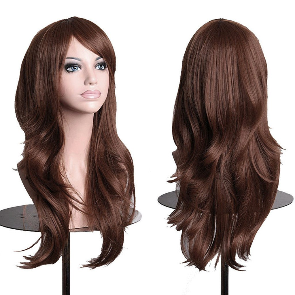 AneShe Wigs 28'' Long Wavy Hair Heat Resistant Cosplay Wig for Women (Dark Brown)