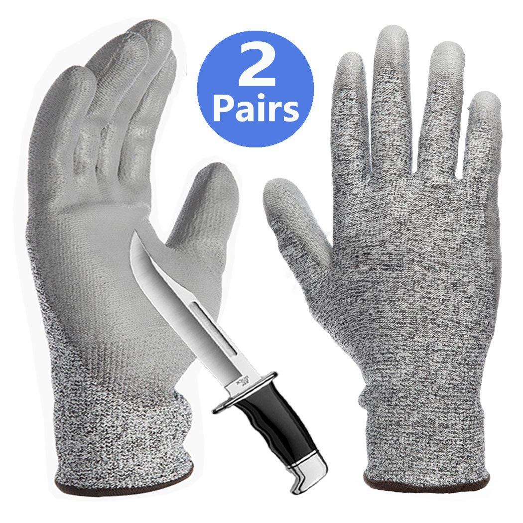 Grip Coating Cut Resistant Gloves Sleeves 2 Pack Dexterity Durable for Kitchen Fishing Garden Construction Mechanic Auto Restoration Multipurpose Non-Slip Breathable Work Gloves 2 Pairs