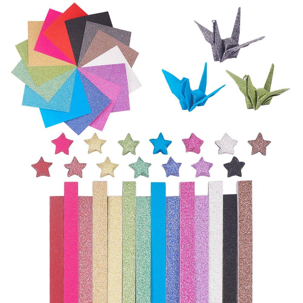 NBEADS origami, 560 fogli, 14 colori glitter Star gru pieghevole a forma di carta quadrati & Stripe, colore misto 560fogli 14colori glitter Star gru pieghevole a forma di carta quadrati & Stripe