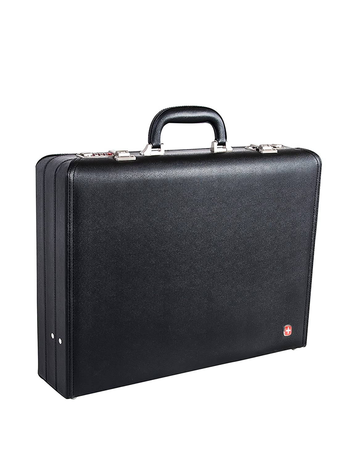 Swiss Gear 17.3-Inch Faux Leather Attache Case, Black, International Carry-on Holiday Luggage SWA0996009