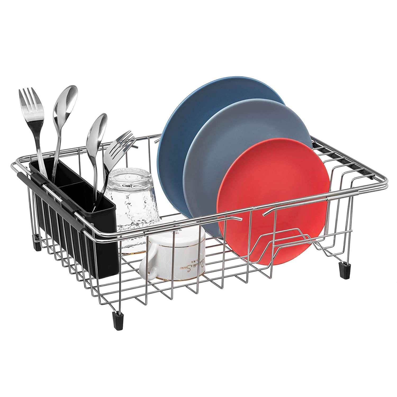 MONOKIT Expandable Sink Dish Drying Rack Kitchen Dish Drainer Rack Large Plate Holder Organizer Basket with Black Utensil Storage Rustproof Stainless Steel