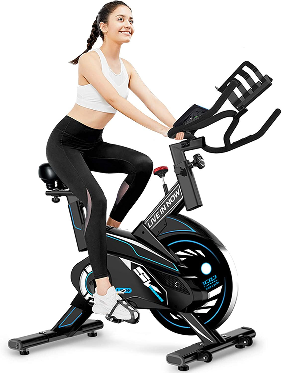 L NOW Indoor Exercise Bike Stationary, Belt Drive Indoor Cycling Bike for Home Office Cardio Workout Bike TrainingMax 350Ibs With Wire to Connect Phone