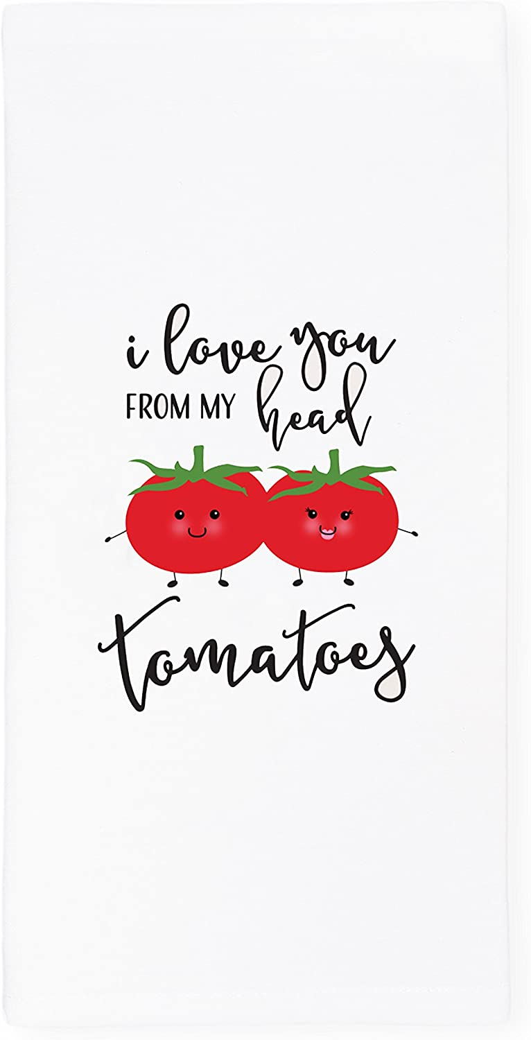 The Cotton & Canvas Co. I Love You from My Head Tomatoes Soft and Absorbent Kitchen Tea Towel, Flour Sack Towel Dish Cloth, 1-Count