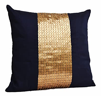 Amore Beaute Handcrafted Throw Pillows Navy Blue Gold Color Block In Art Silk With Sequin Bead Detail Cushion Covers Sequin Pillow Covers 16 X 16
