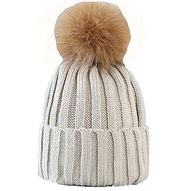 9e92c70f3772 BBSMYA Femme Bonnet fourré hiver pour femme bonnet tricoté avec torsades et  gros pompon en fausse