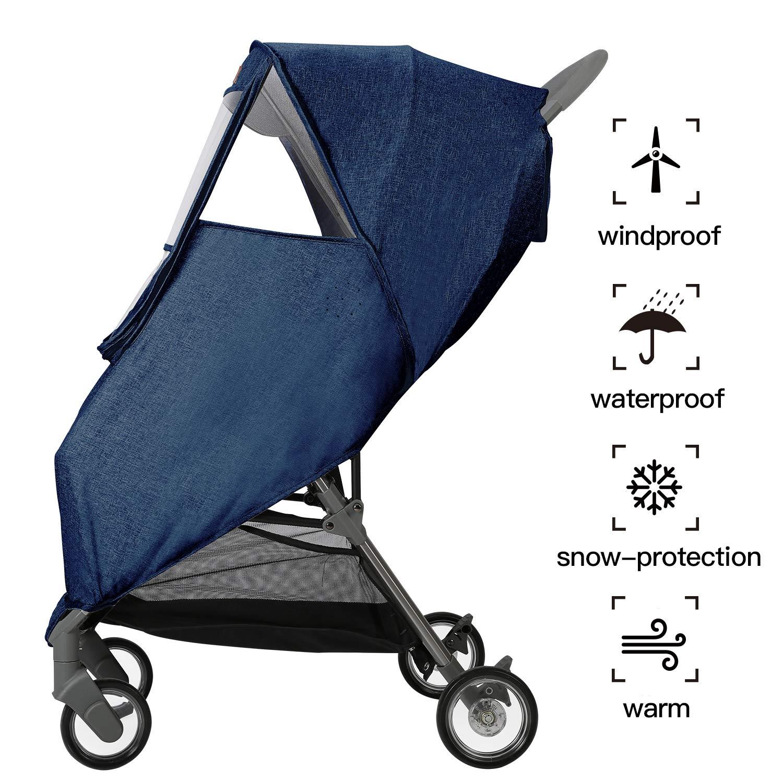 Stroller Weather Shield Rain Cover Universal Size Nano Coating Waterproof Windproof Ventilation-Gray