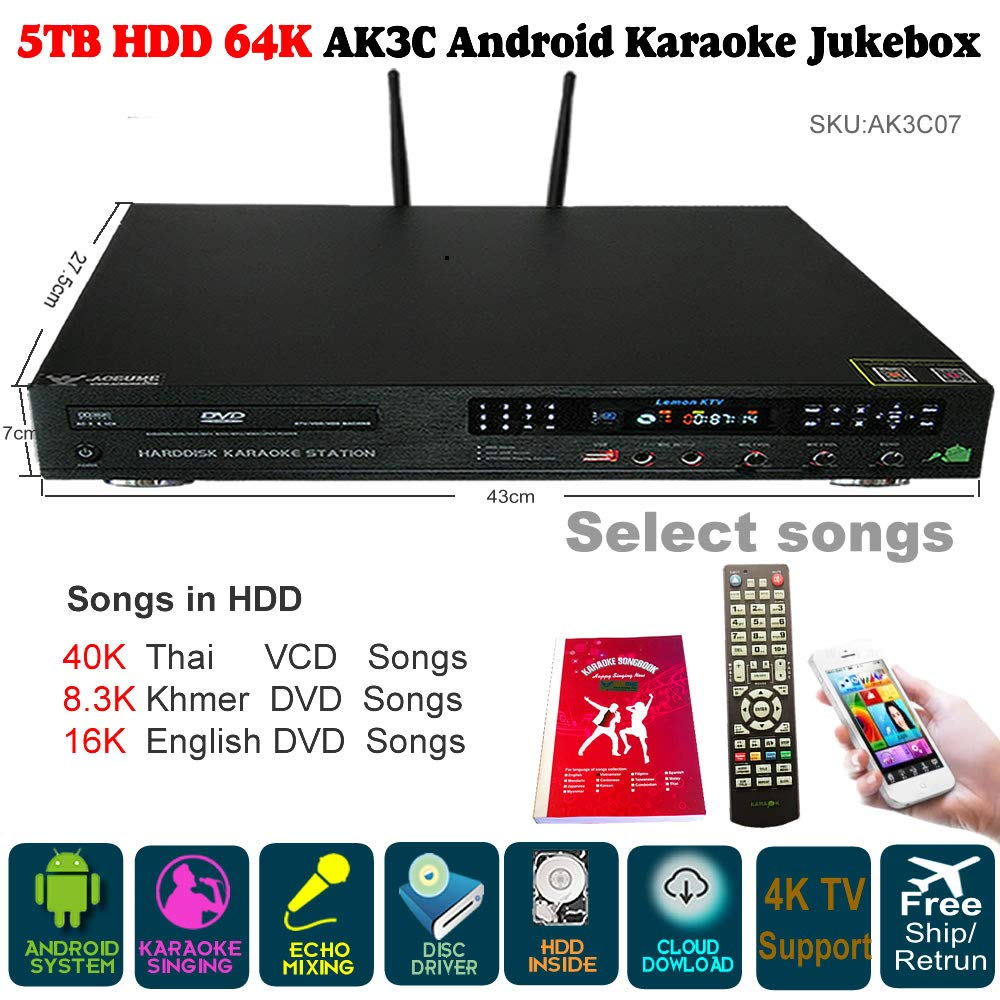 5TB HDD 64K Songs Thai, New Khmer/Cambodian DVD, NEW English Songs Android Karaoke Machine,Songs Player,Jukebox,Microphone Port,DVD Driver Built,ECHO Mixing
